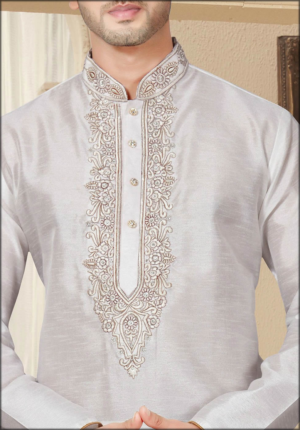 Embroidered Silk Kurta In Off White For Groom To be