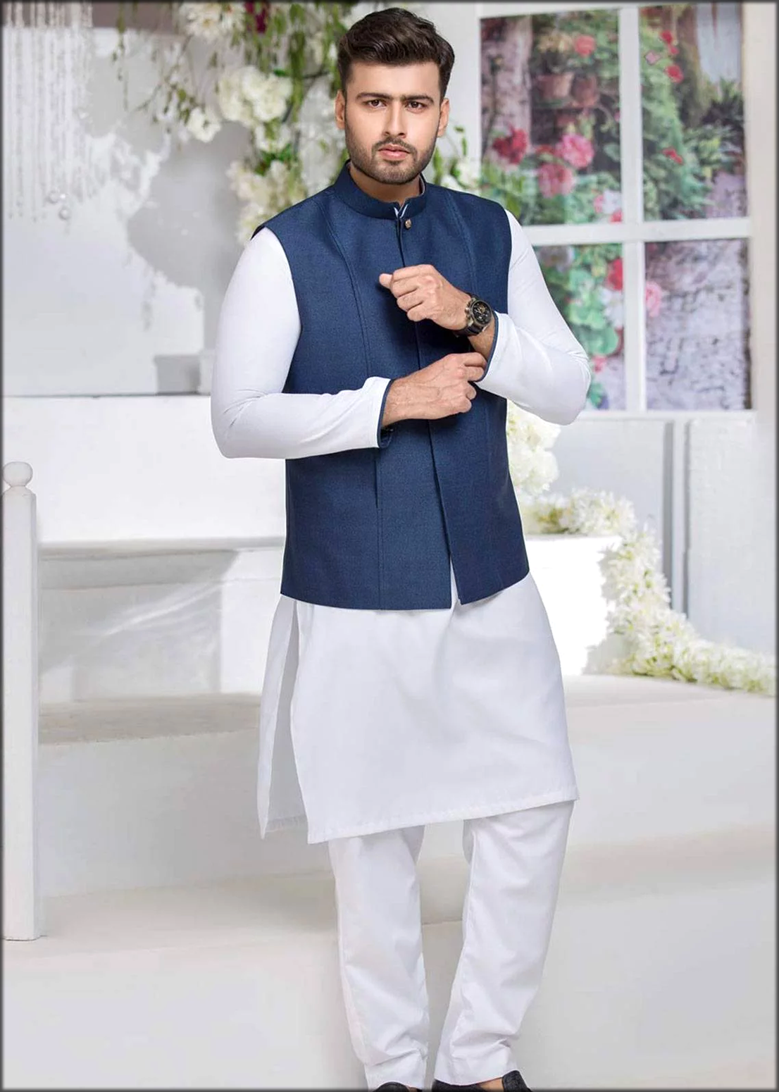 Engagement Dresses For Men in Formal Kurta Pyjama With Wasitcoat