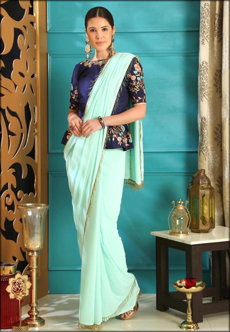 Full Length Women Blouses Collection With Turquoise Blue Saree