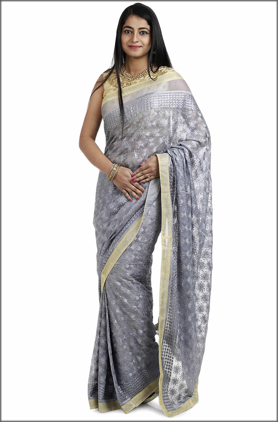 Grey Indian Kanchan Phulkari Saree