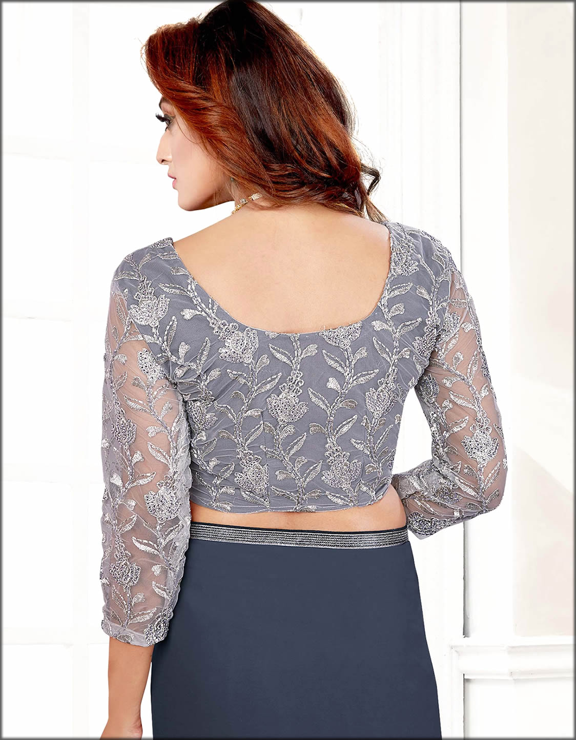 Grey Saree With Lace Blouse Indian Women Blouses Collection