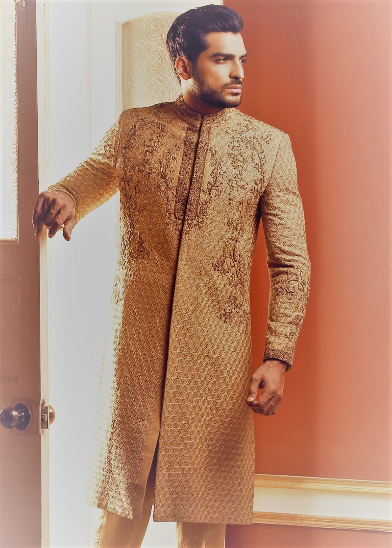 Front embroidered men sherwani by HSY