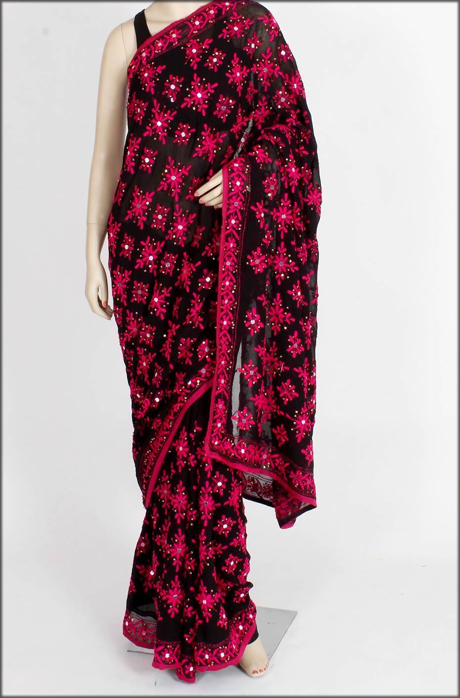 Handmade Black Phulkari Saree From Punjab
