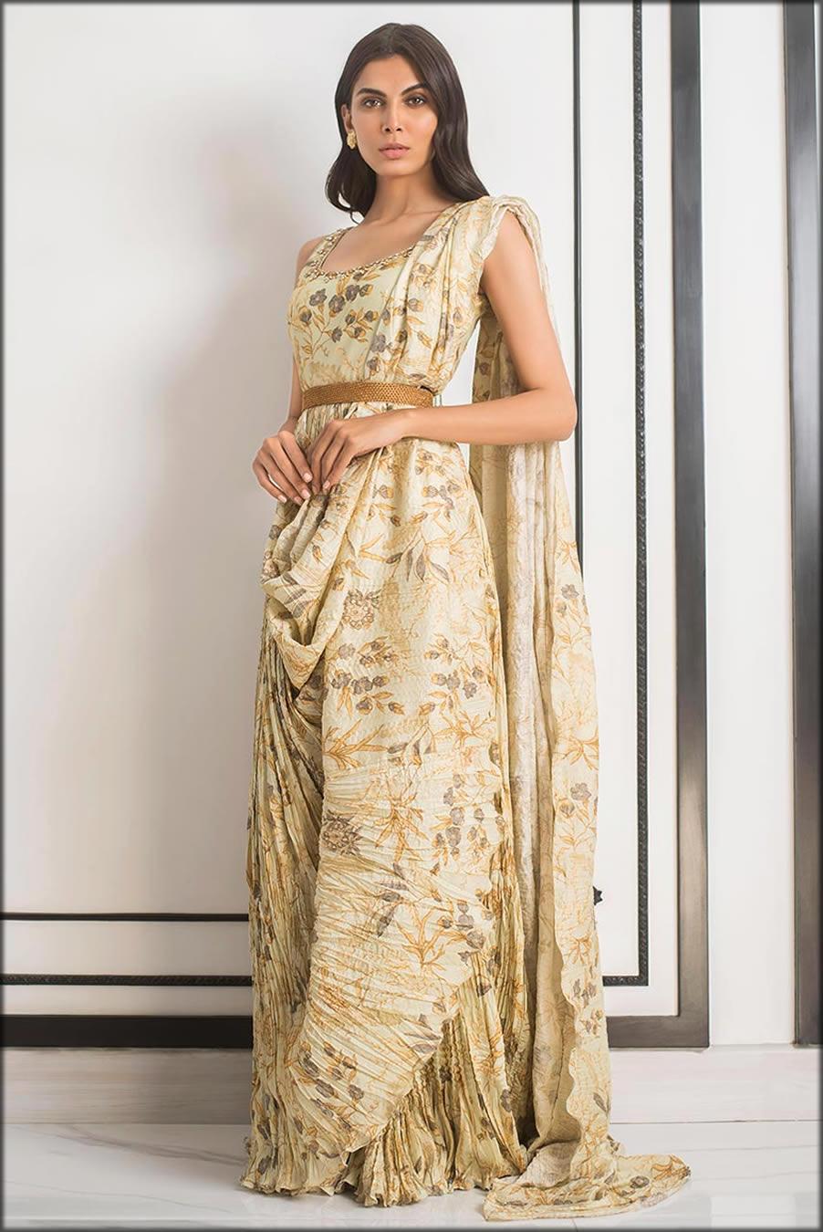 Khadi Silk Printed Crushed Draped Sania's Saree