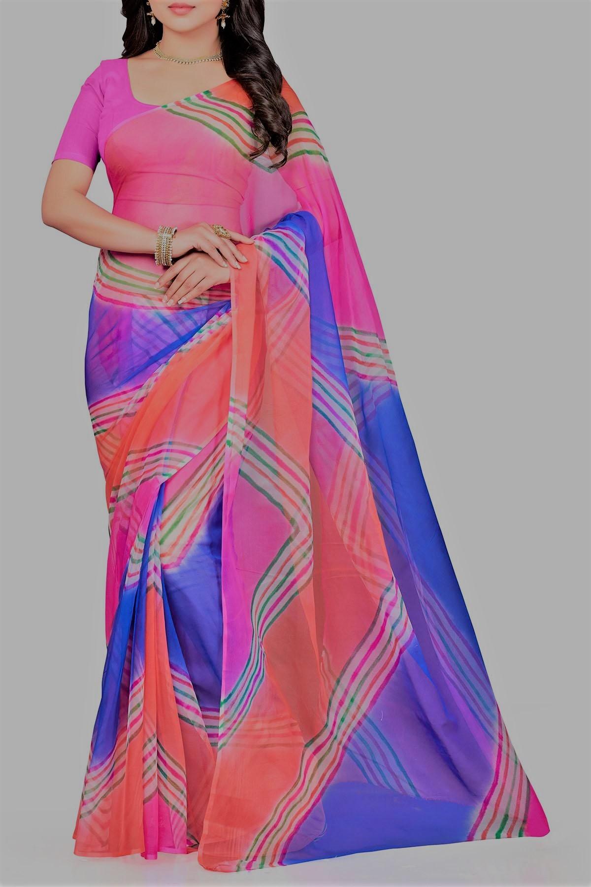 Lehariya Saree Barbie Pink & Blue Georgette