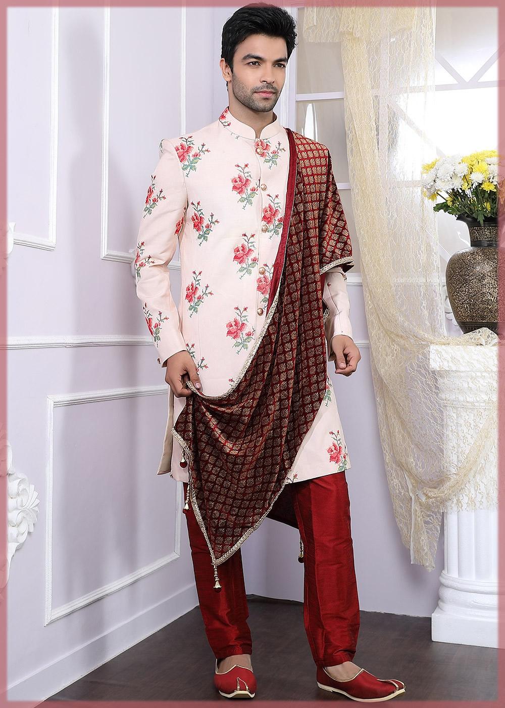 Floral printed sherwani with duppata
