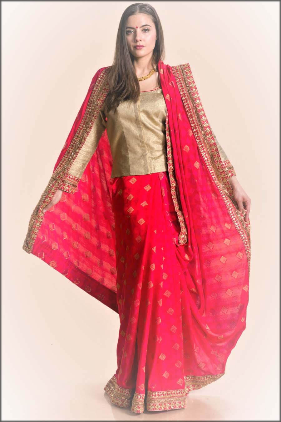 Long Blouse With Red Saree