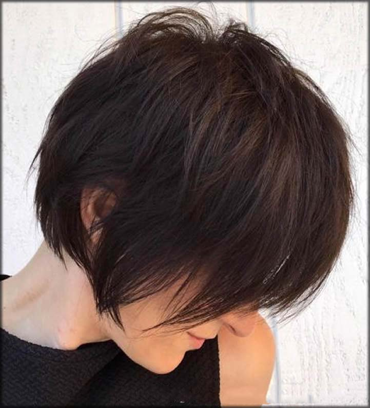 Long Feathered Espresso Short Haircuts And Hairstyles