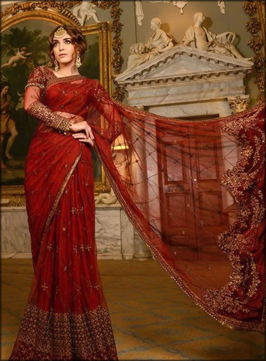 Maria B Maroon Embroidered Wedding Collection