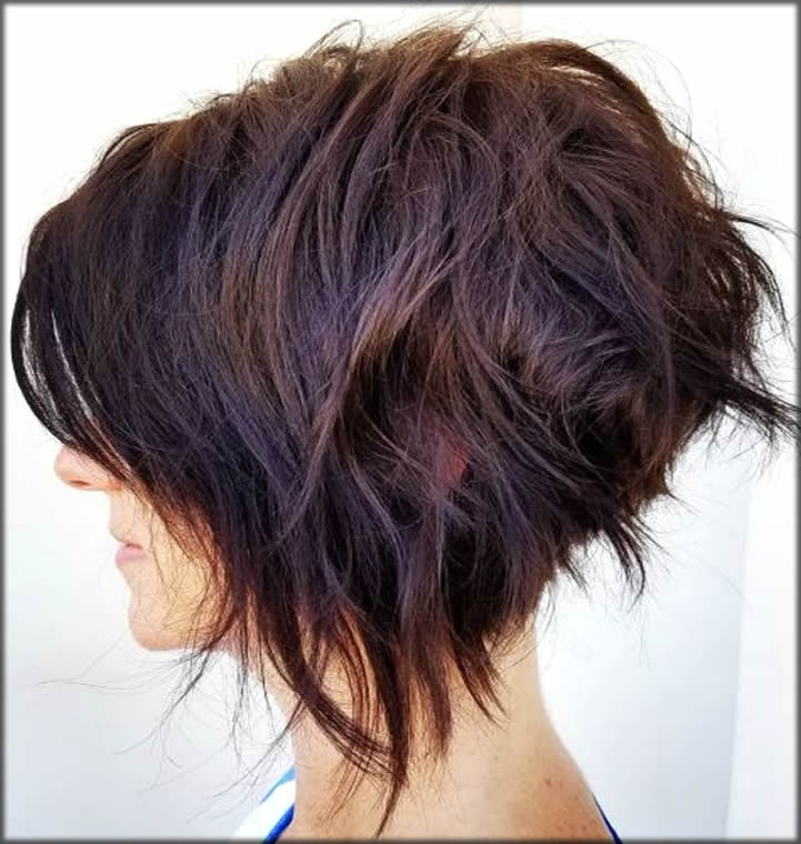 Messy Shaggy Inverted Bob with Subtle Highlights Short Haircuts And Hairstyles