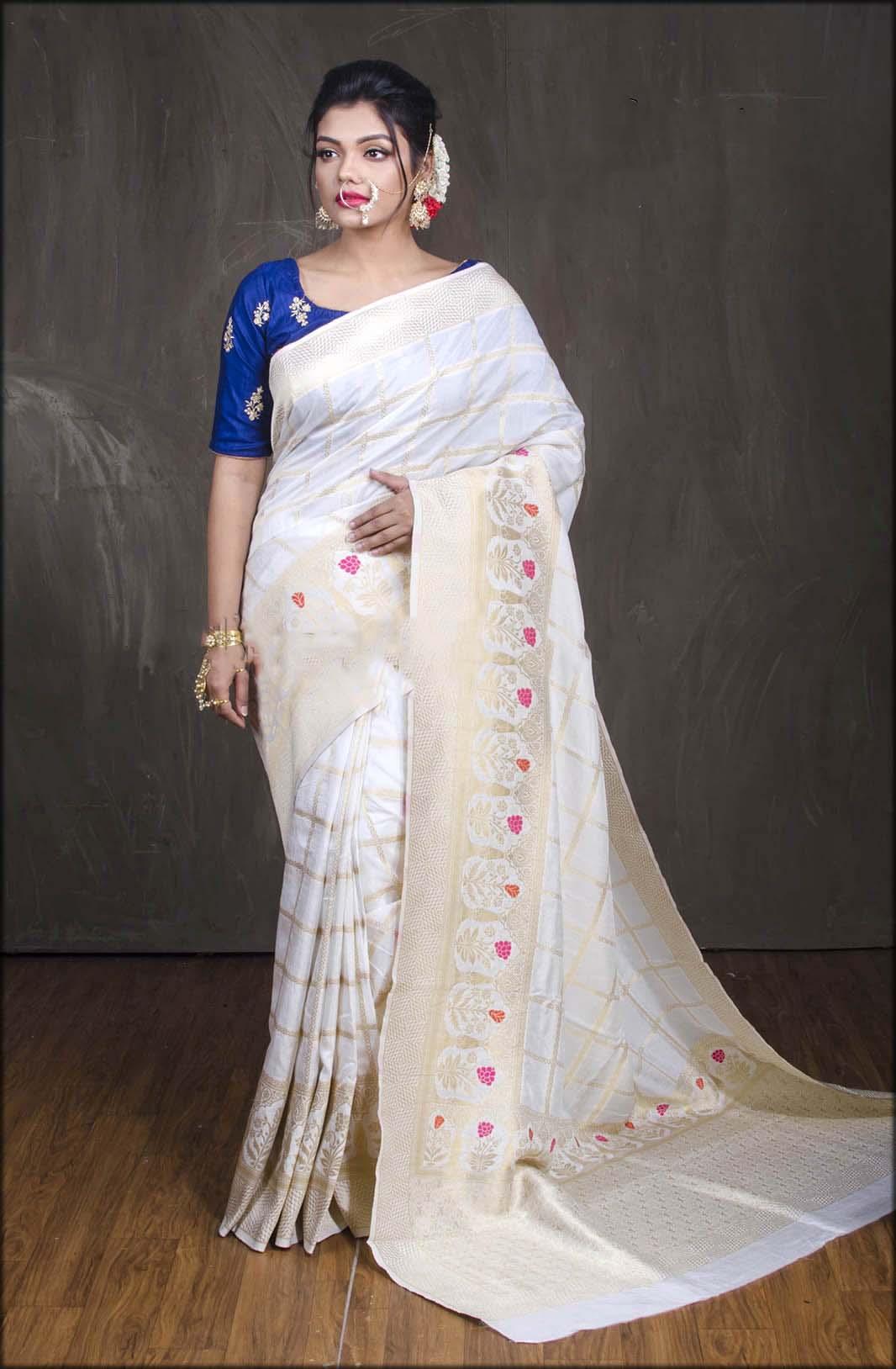 Muga Silk Banarasi Sari in White and Gold