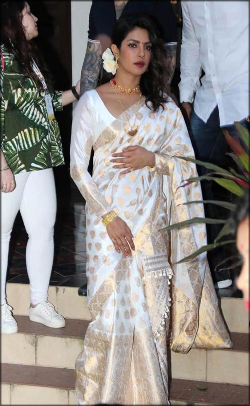 Muga Silk Saree In White