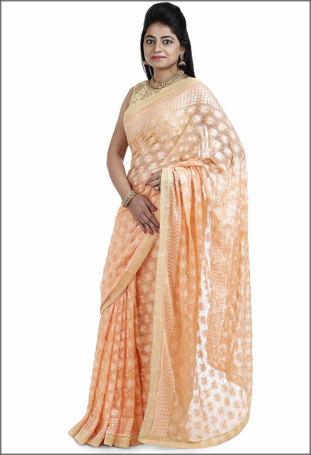 Peach Colour Famous Indian Phulkari Woman Wear