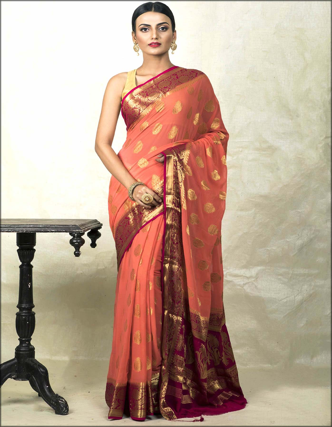 Peach and Red Chiffon Banarasi Saree