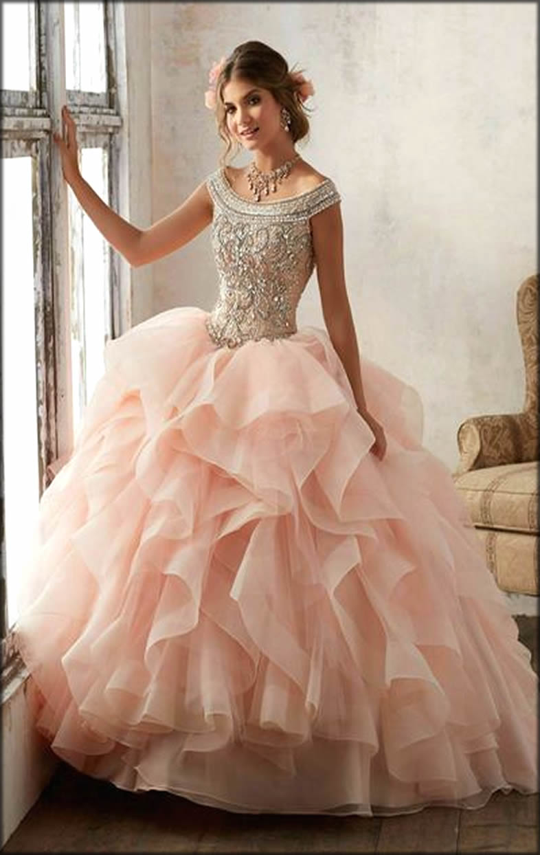 Pink Gown In Layers For Bride to be
