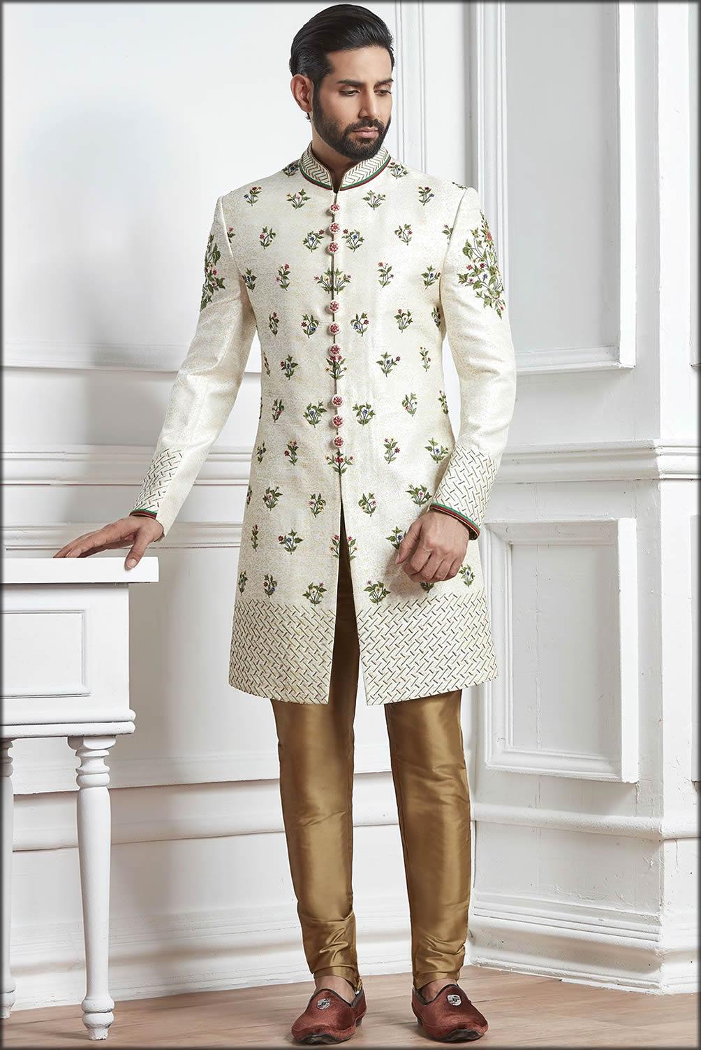 Printed And Elegant Indowestern Engagement Dresses For Men