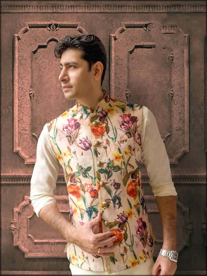 Printed Nehru Jacket For Groom to be