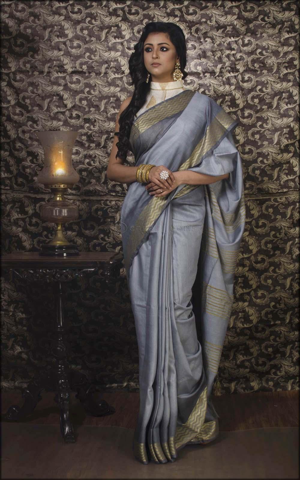 Indian Shaded Muga Silk In Grey
