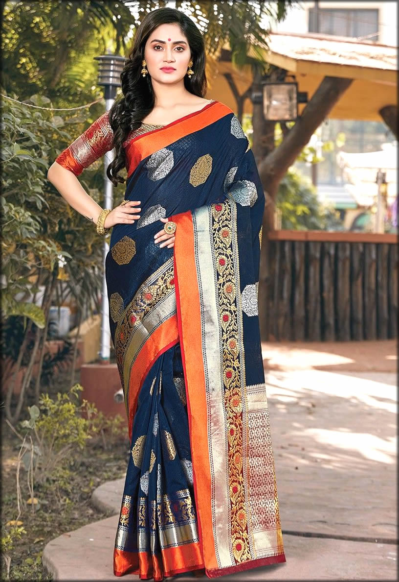 Silk Navy Paithani Saree With Latest Handloom Design