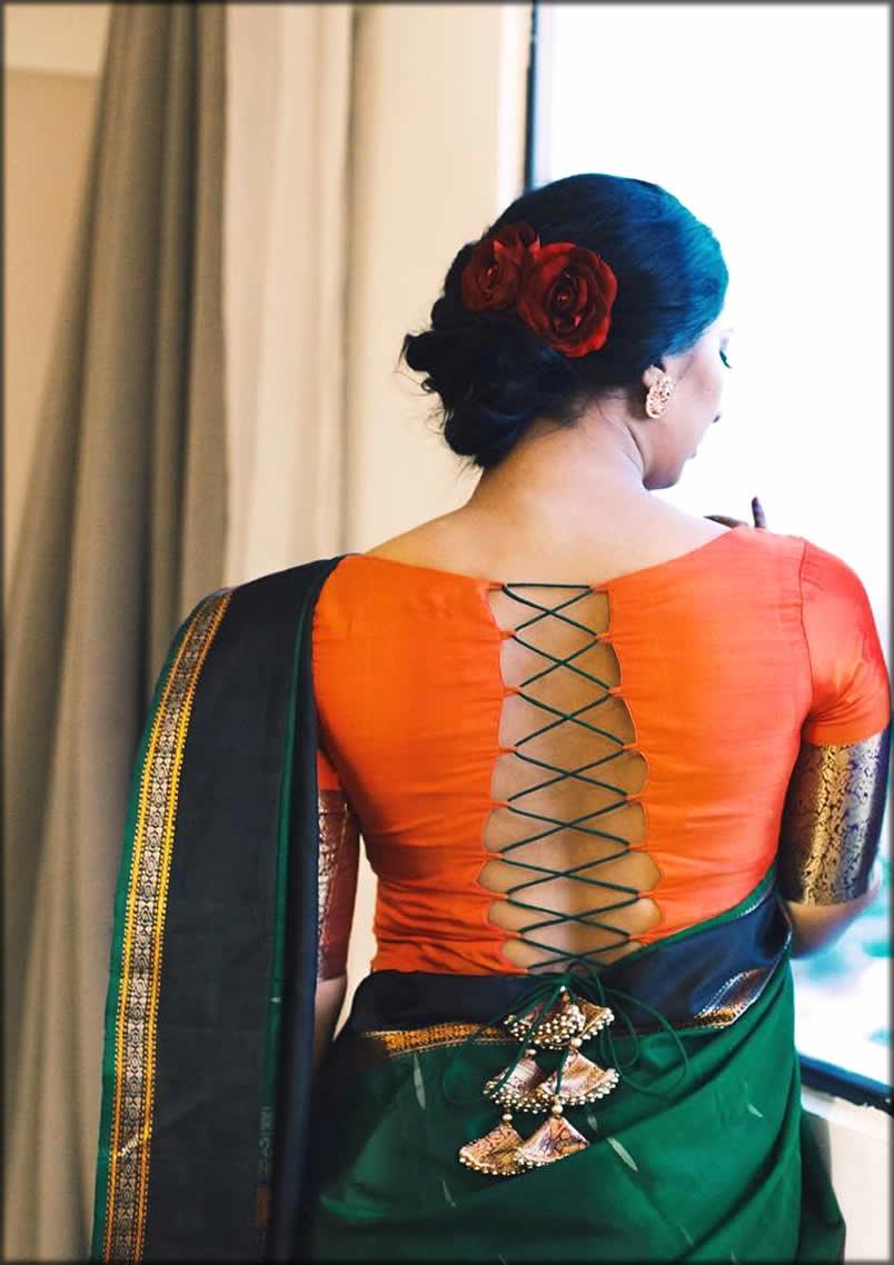 Silk Saree Criss Cross Designer blouse