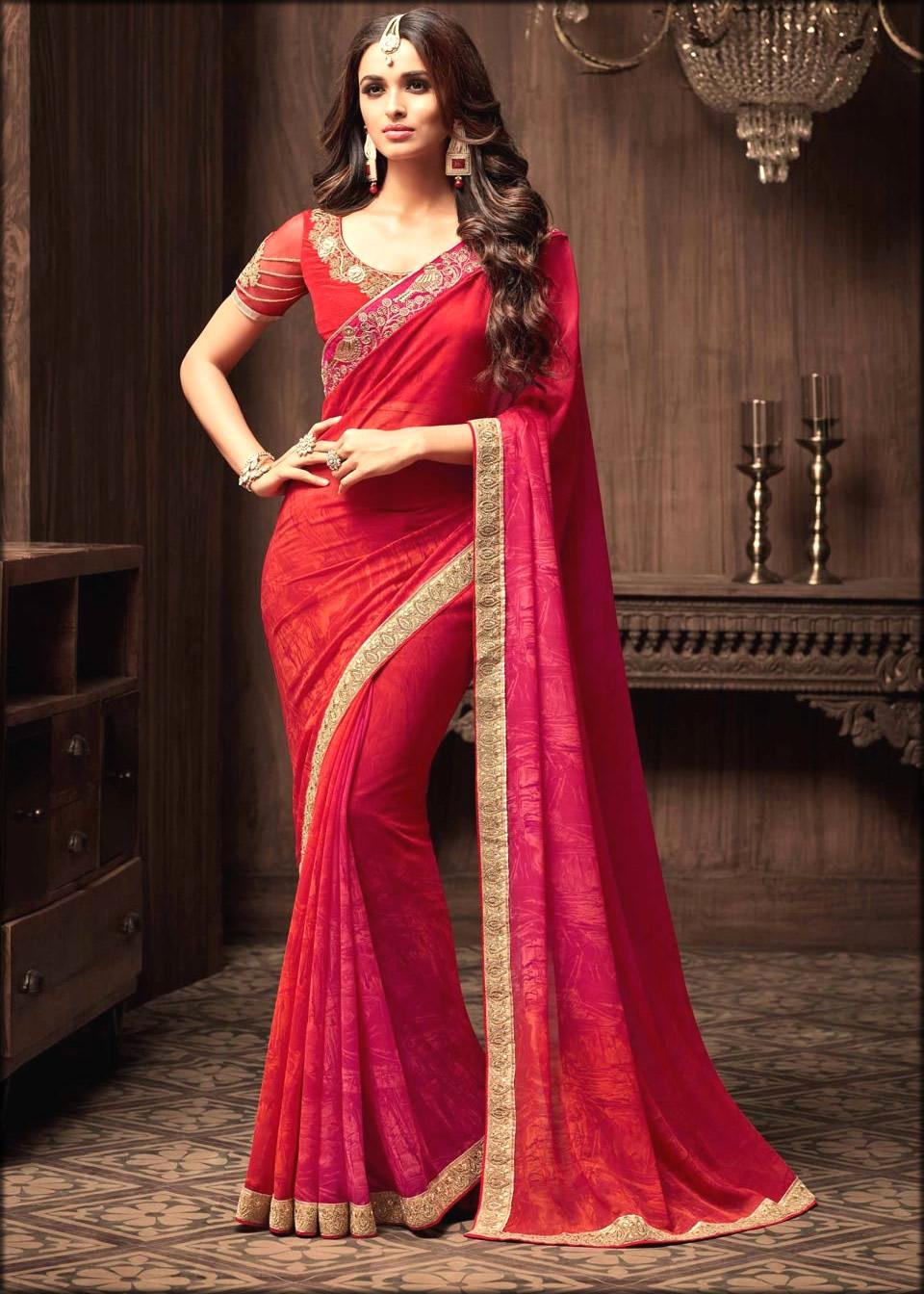 Stunning Red Colour Saree