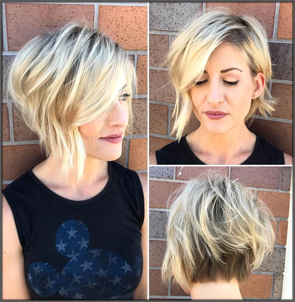 Textured Bob With Beautiful Side Swept Bangs Short Haircuts And Hairstyles