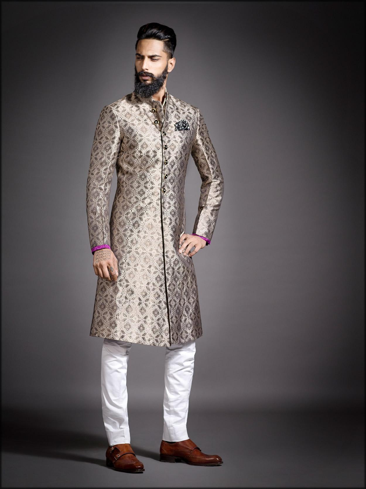 achkan style men wedding sherwani