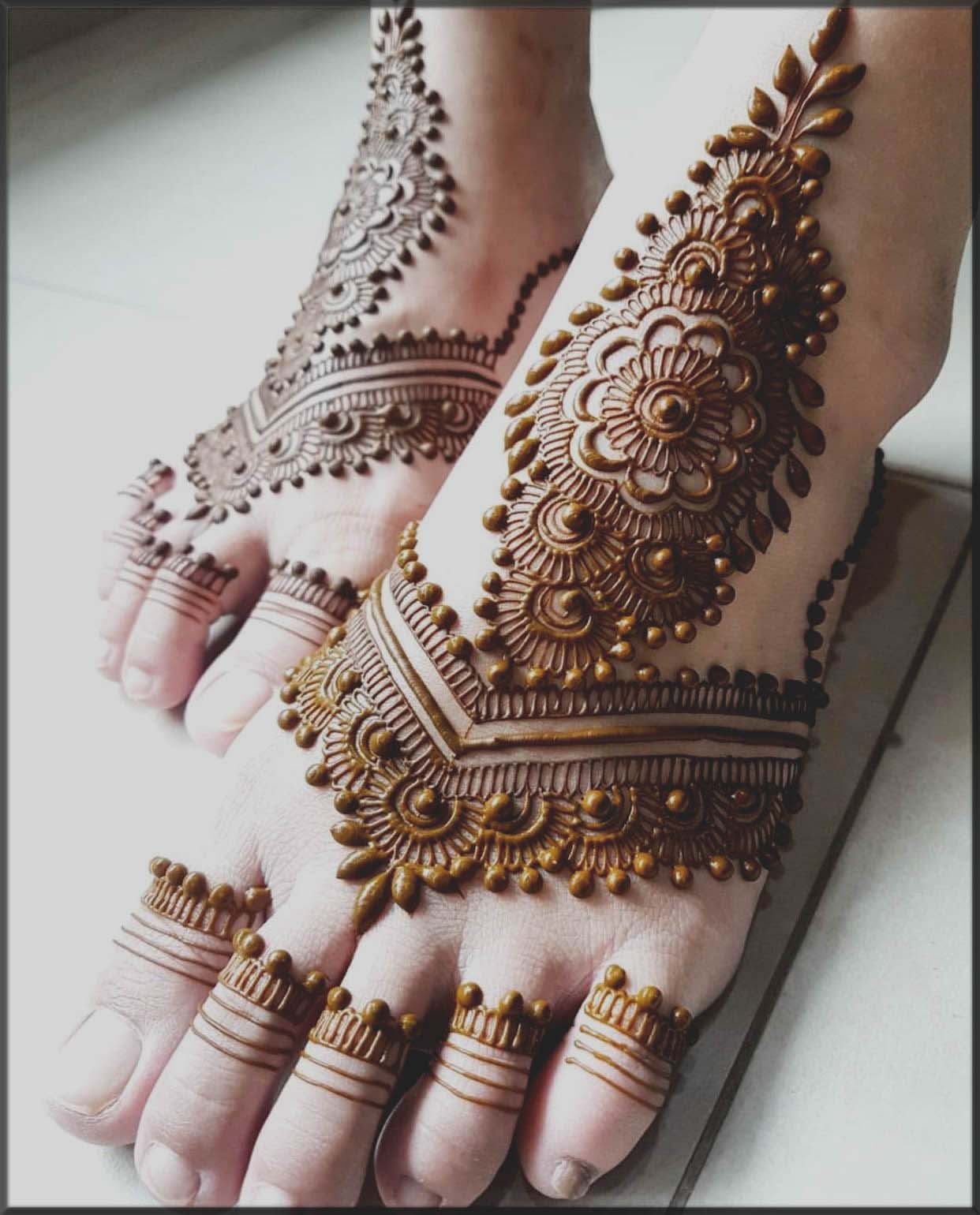 beautiful henna patterns for bride foot