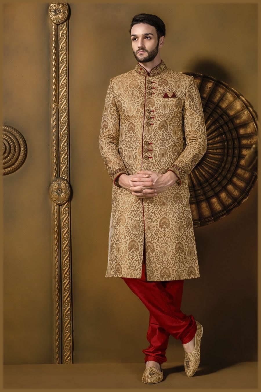 beige brocade jodhpuri sherwani