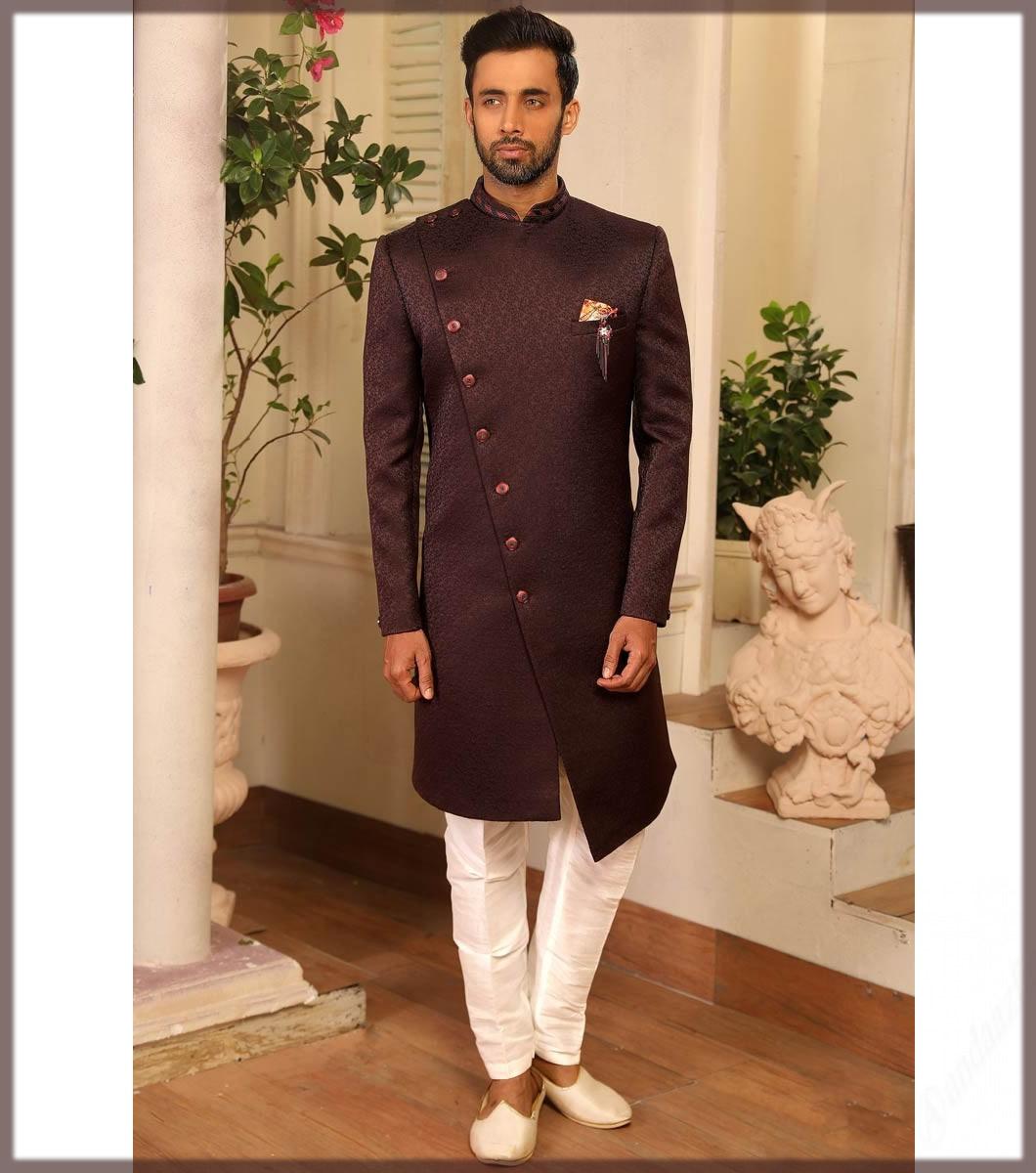 brown angrakha style men sherwani