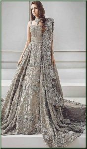 floral silver walima dress for a bride
