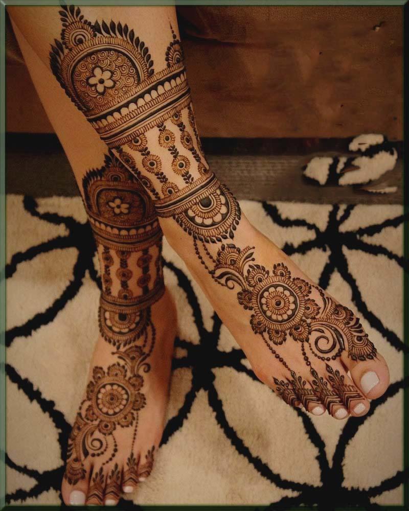 fresh bridal mehndi designs for feet