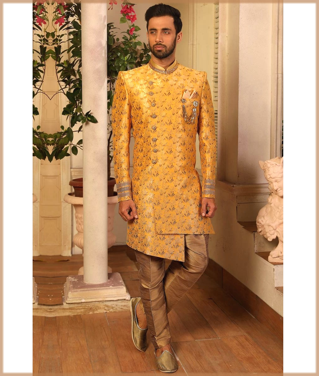 indo western pakistani jauquard silk sherwani