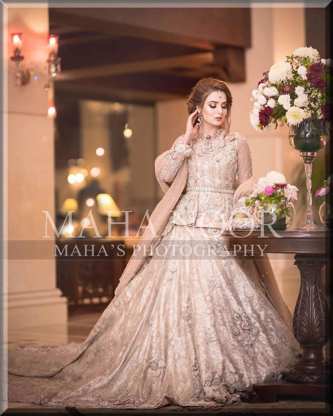 silk bridal walima dresses with short peplum