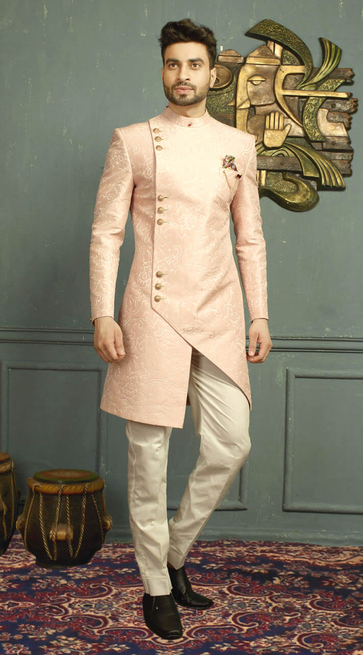 light pink indo western sherwani