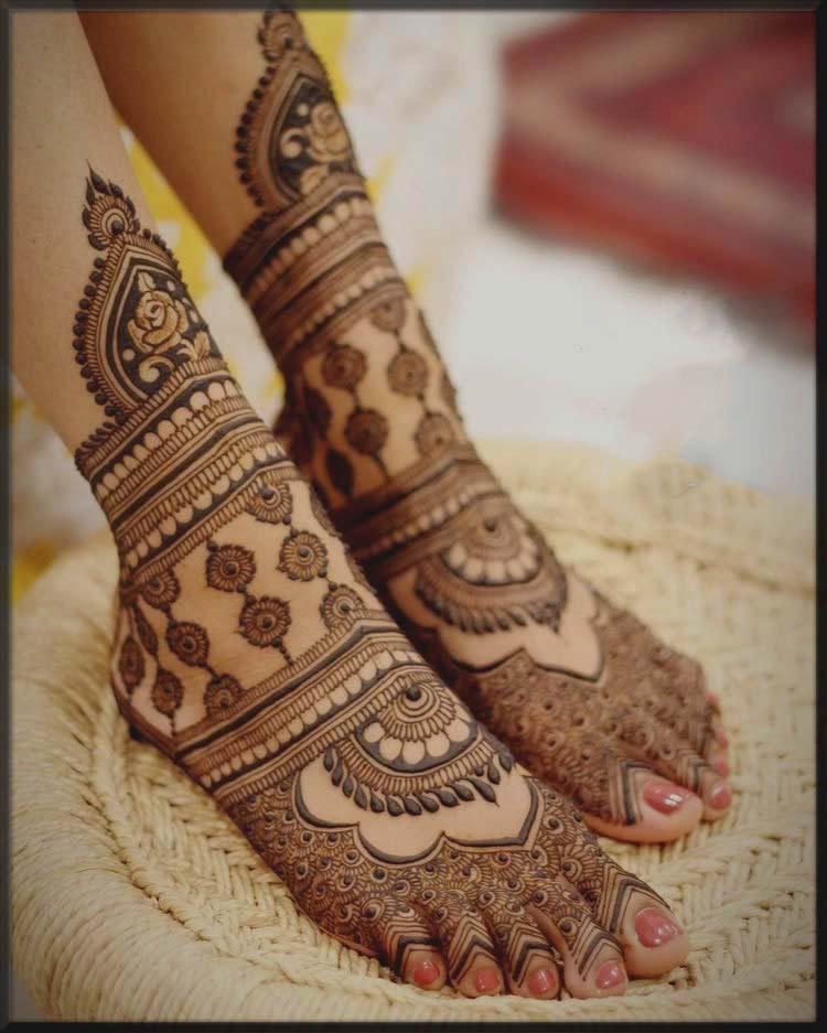 lovely feet mehndi patterns for bride