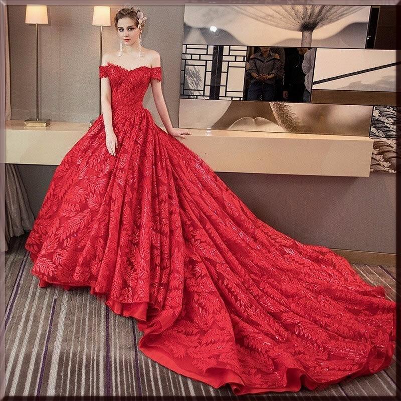 luxury red Valentine's day dress