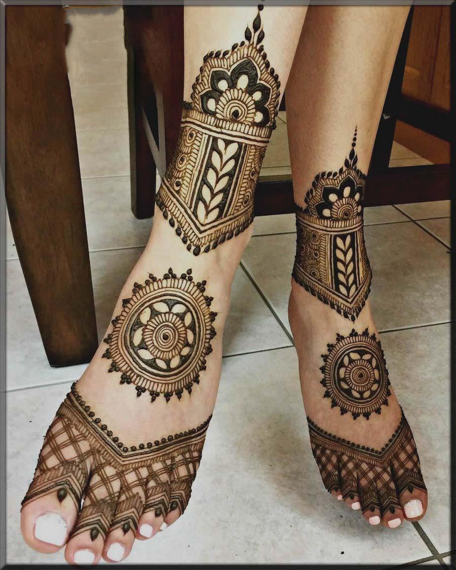 arabic tikki henna designs for bride feet