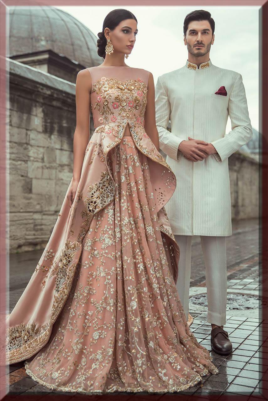 peplum style bridal walima dresses