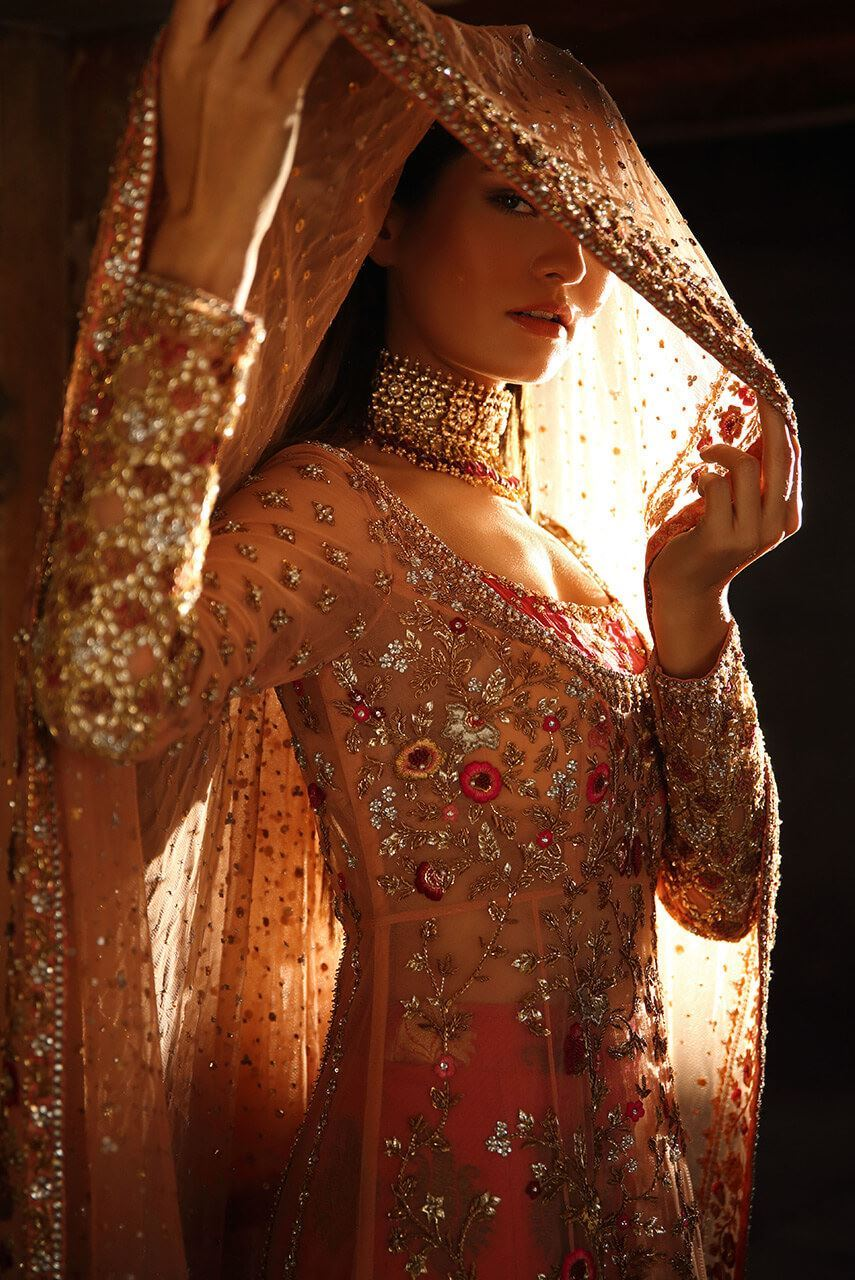 Peach Bridal Walima dresses collection