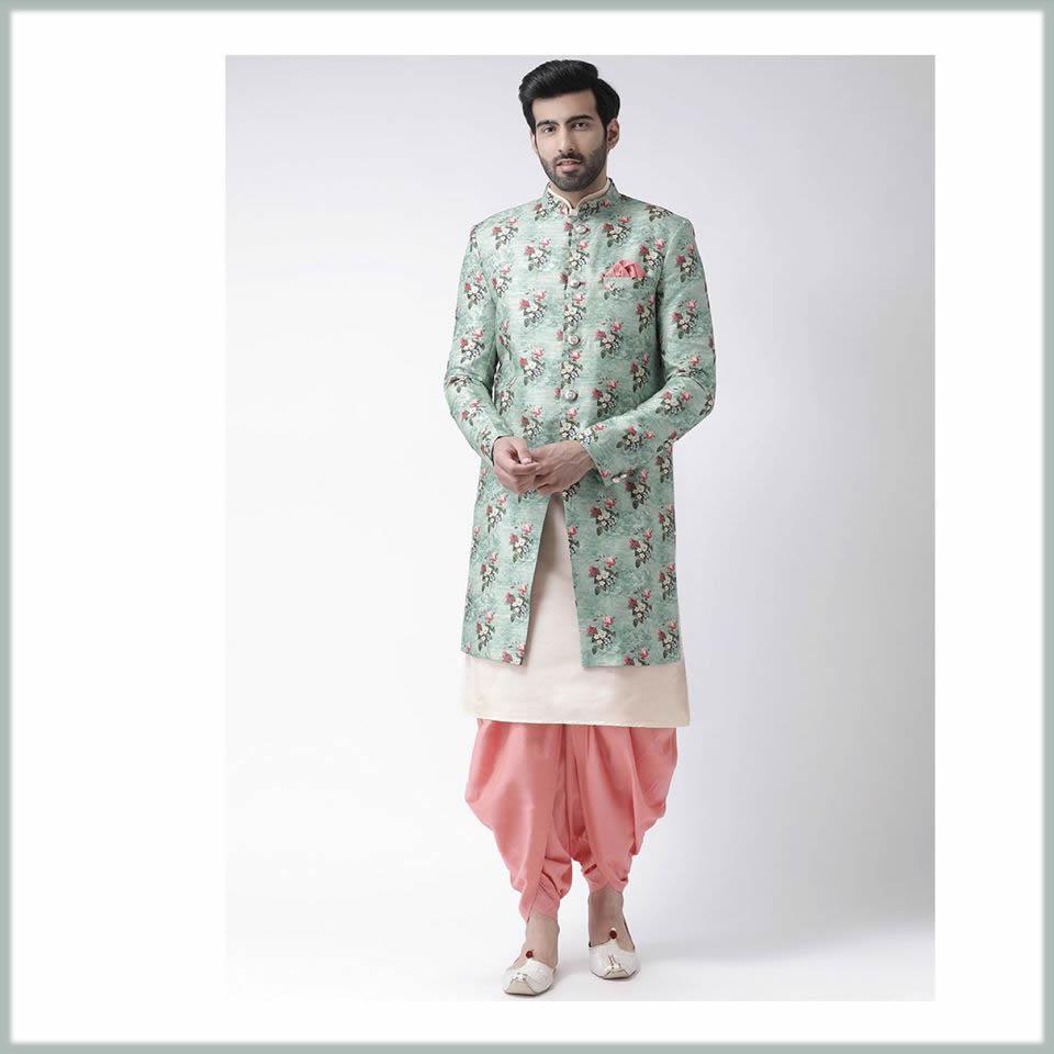 elegant printed sherwani with dhoti style