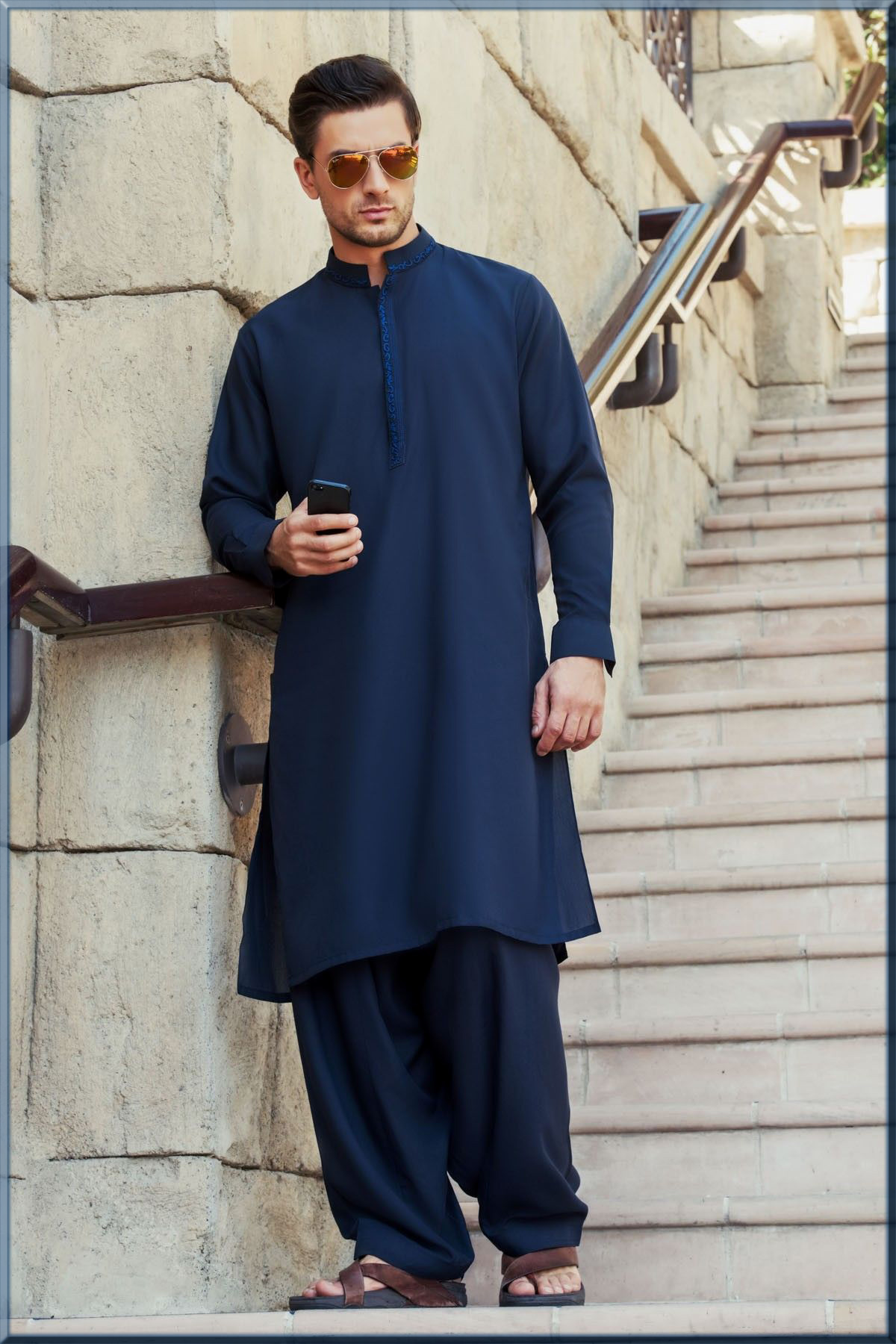 royal blue casual wear kurta for men