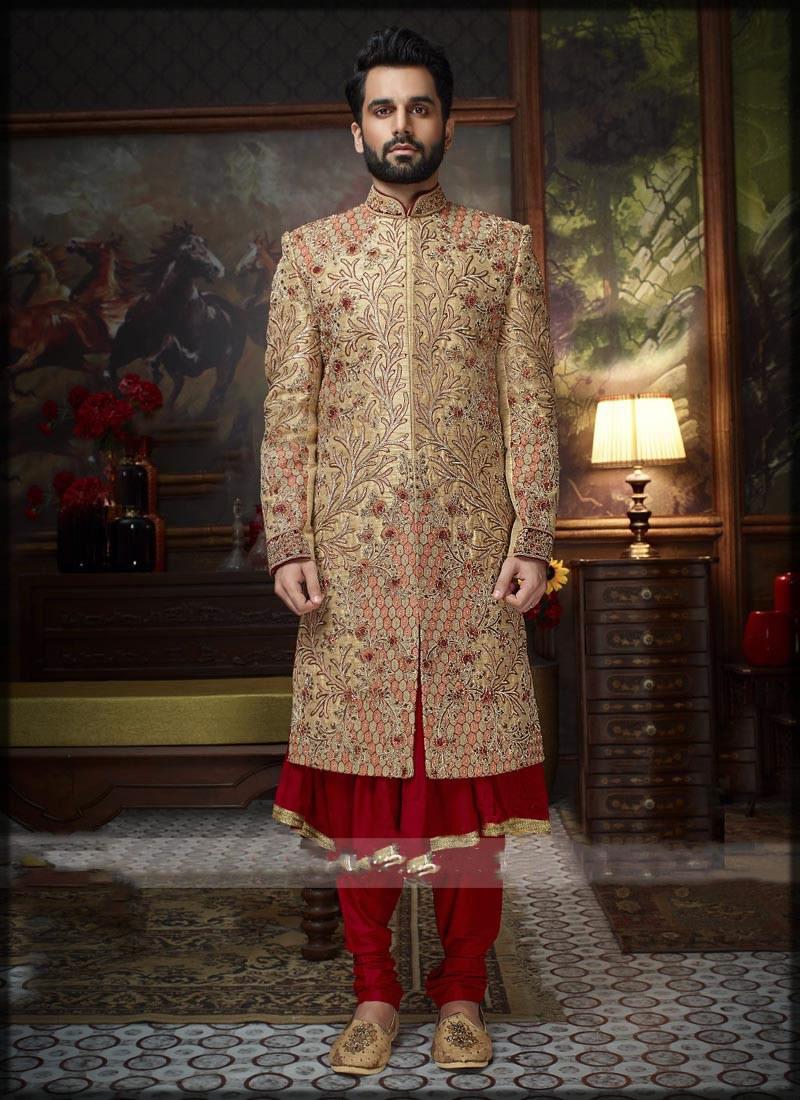 anarkali wedding wear sherwani with velvat suit