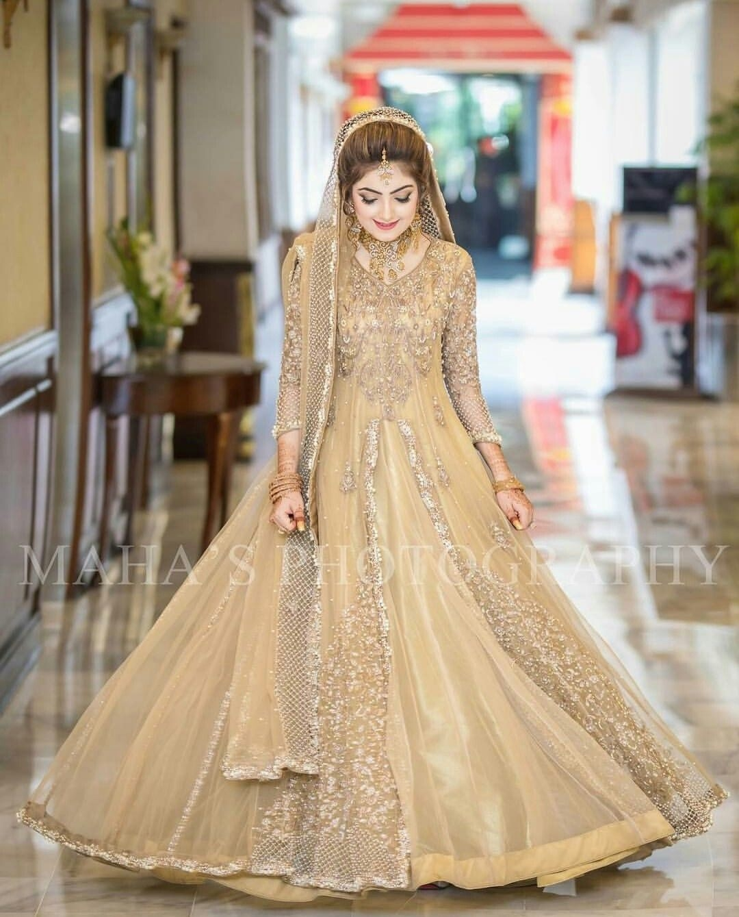 light yellow dress for walima bride
