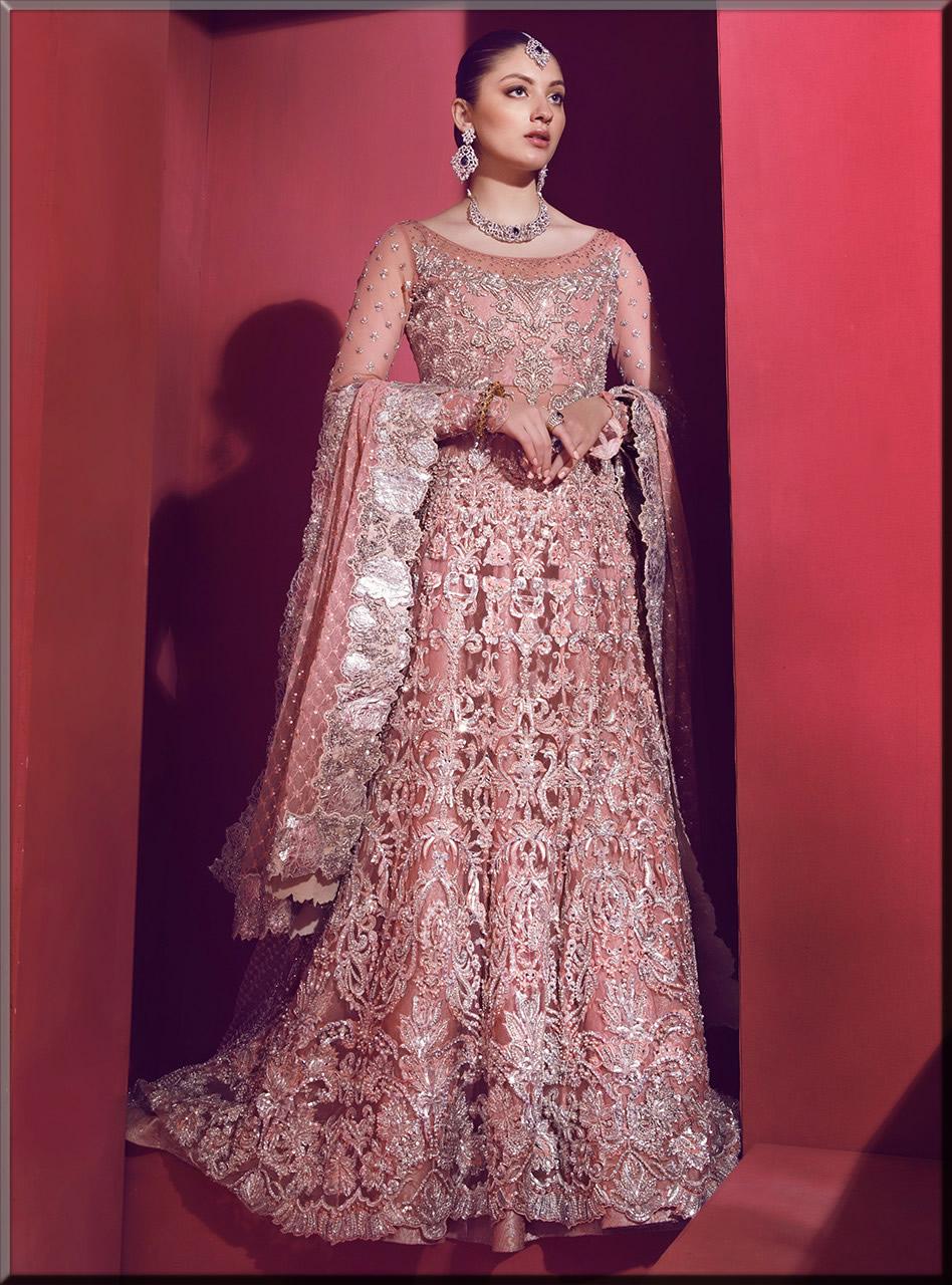 beautiful pink walima maxi for bride
