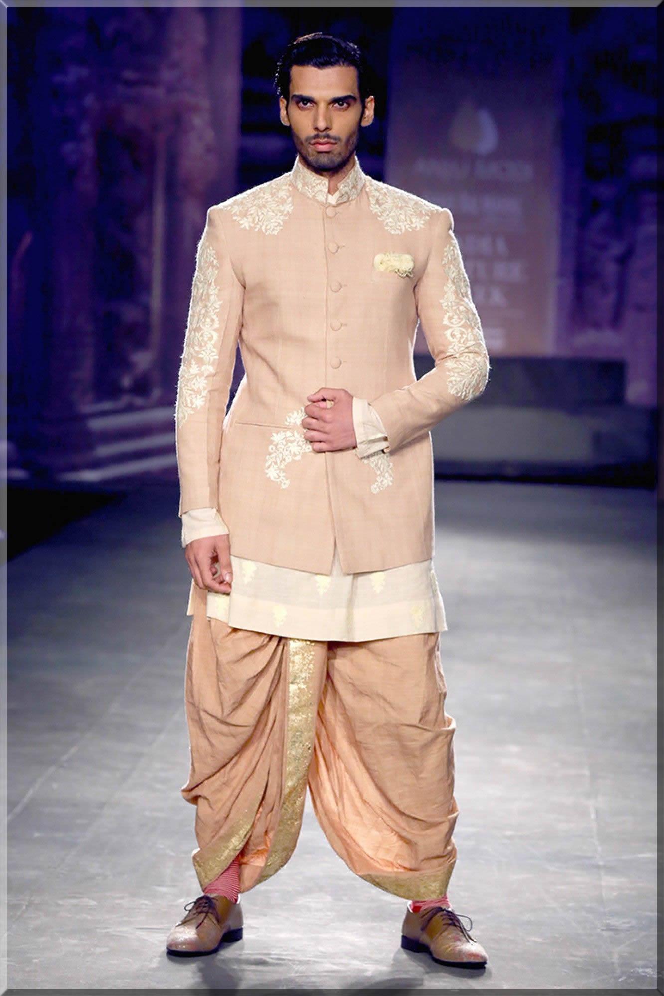 tea pink jacket style wedding wear sherwani