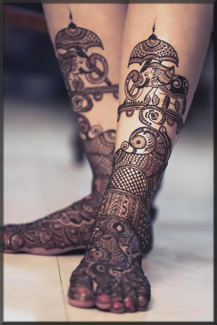 unique and stunning bridal henna design for feet