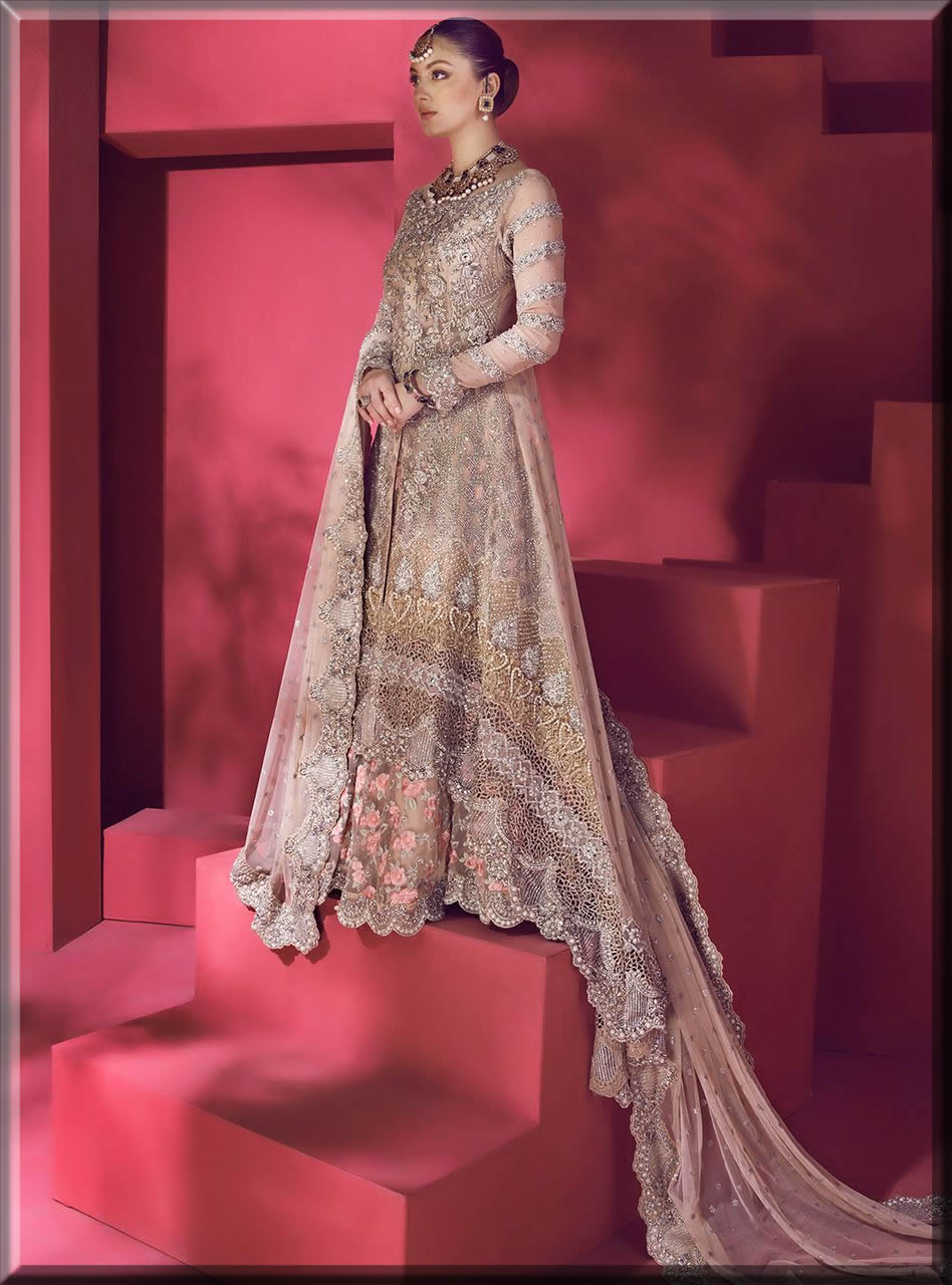 pink and gold gown for walima bride