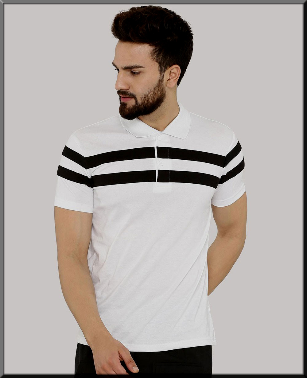 white and black polo casual wear for men