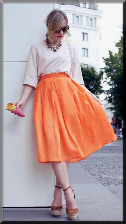 white and orange beautiful dress for women